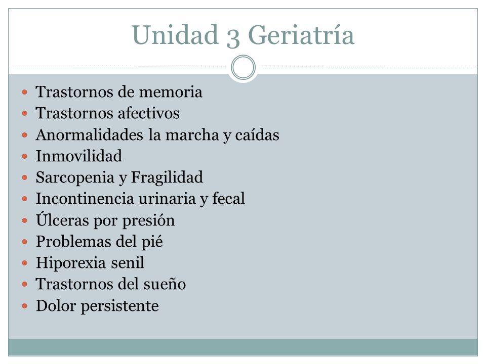 Unidad 3 Geriatría Trastornos de memoria Trastornos afectivos