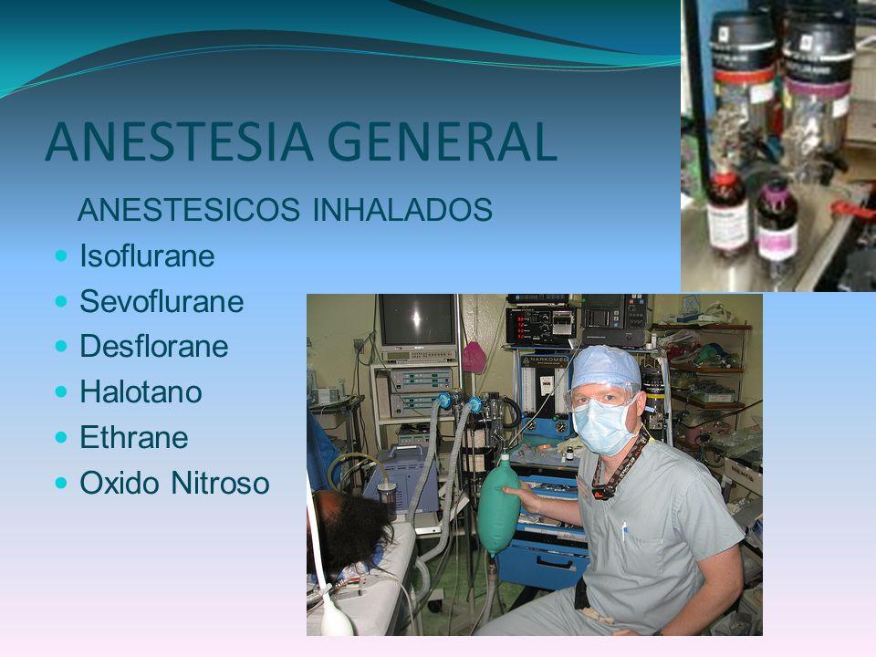 ANESTESIA GENERAL ANESTESICOS INHALADOS Isoflurane Sevoflurane