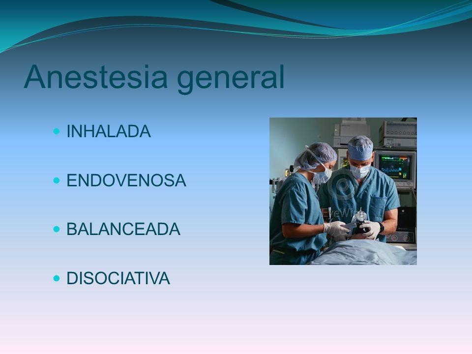 Anestesia general INHALADA ENDOVENOSA BALANCEADA DISOCIATIVA