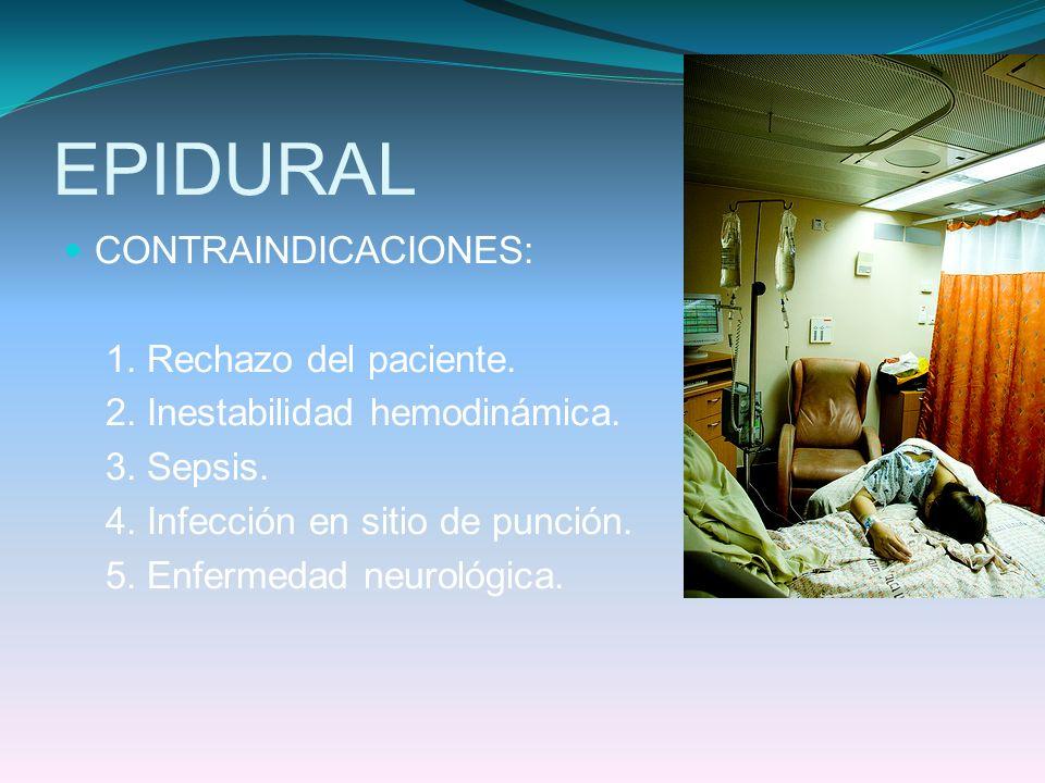 EPIDURAL CONTRAINDICACIONES: 1. Rechazo del paciente.