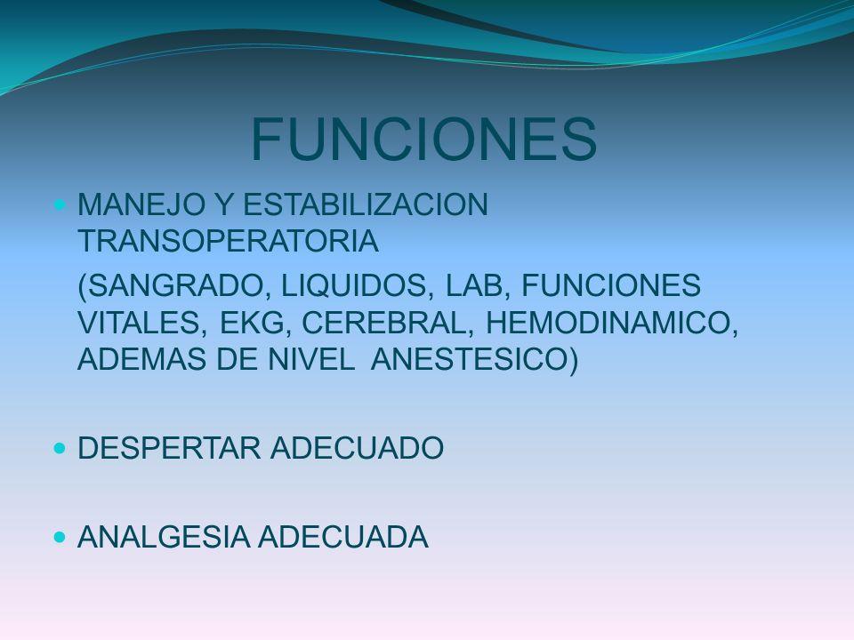 FUNCIONES MANEJO Y ESTABILIZACION TRANSOPERATORIA