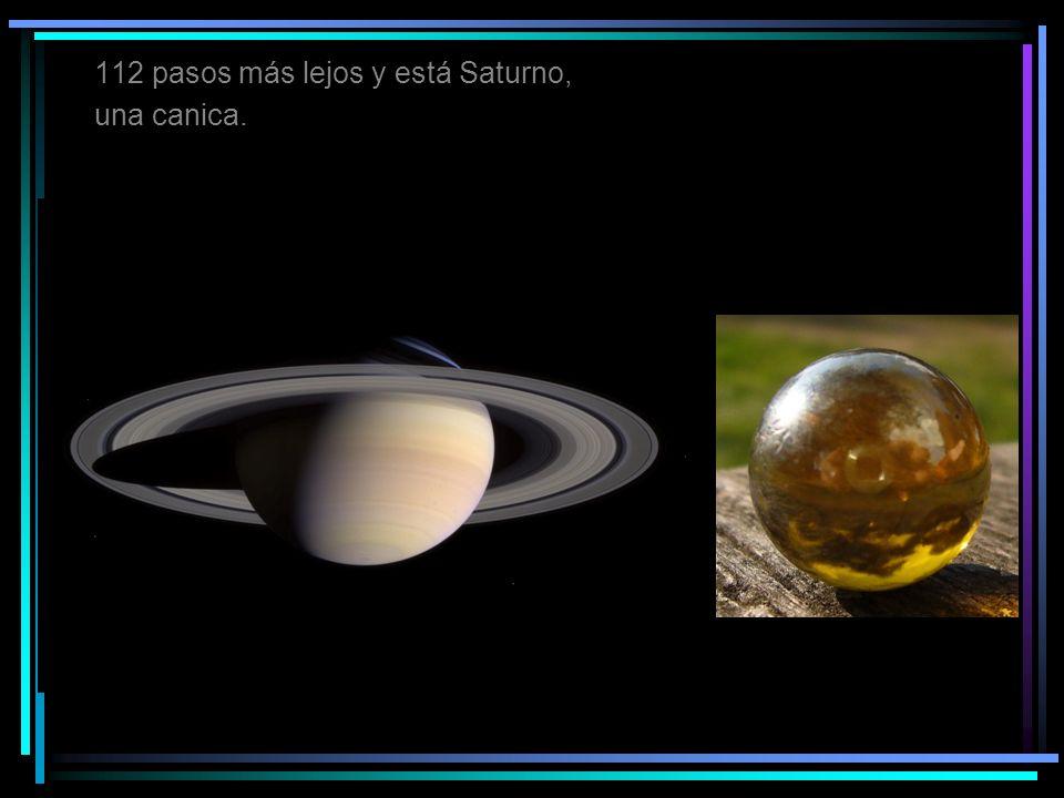 112 pasos más lejos y está Saturno,