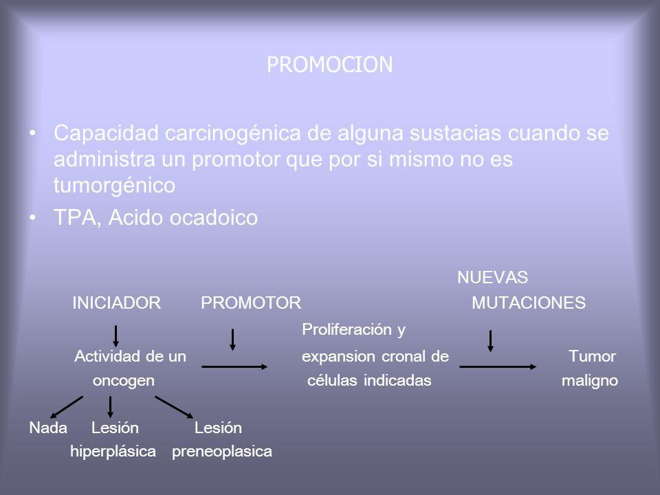 PROMOCIONCapacidad carcinogénica de alguna sustacias cuando se administra un promotor que por si mismo no es tumorgénico.