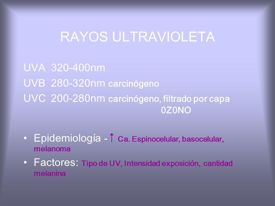 RAYOS ULTRAVIOLETA UVA 320-400nm UVB 280-320nm carcinógeno