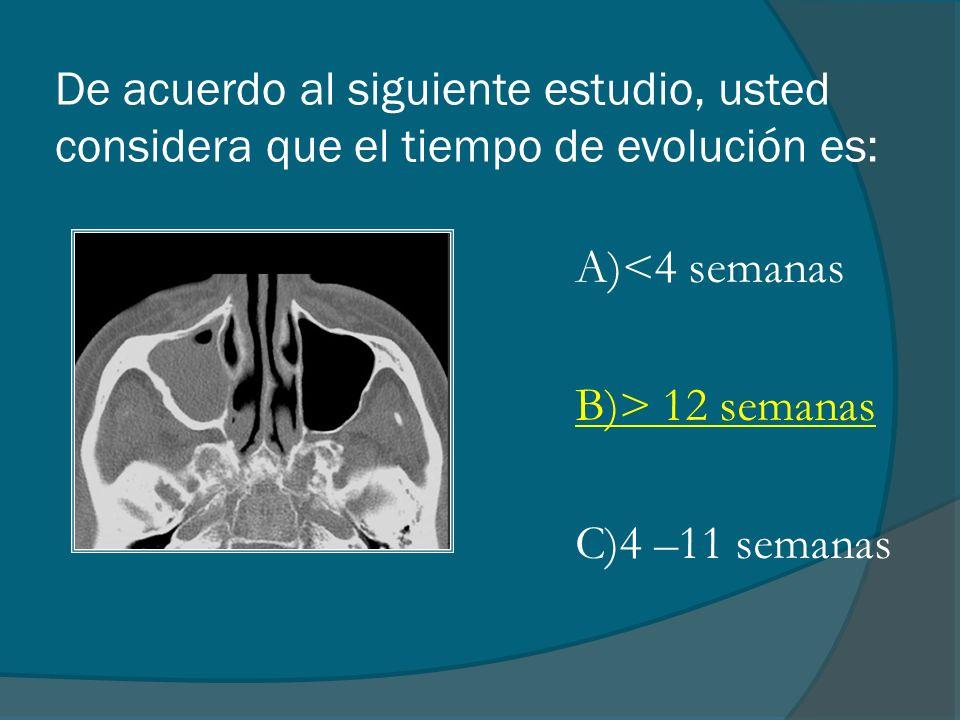 De acuerdo al siguiente estudio, usted considera que el tiempo de evolución es: