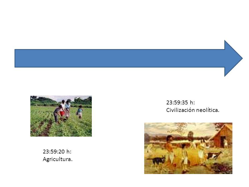 23:59:35 h: Civilización neolítica. 23:59:20 h: Agricultura.