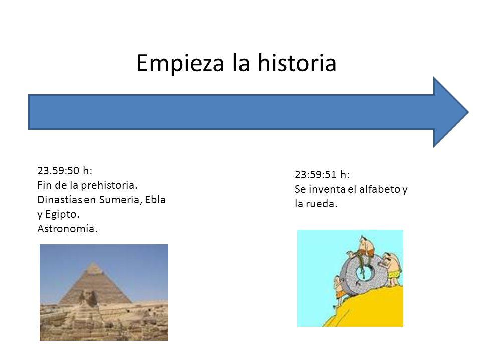 Empieza la historia 23.59:50 h: 23:59:51 h: Fin de la prehistoria.