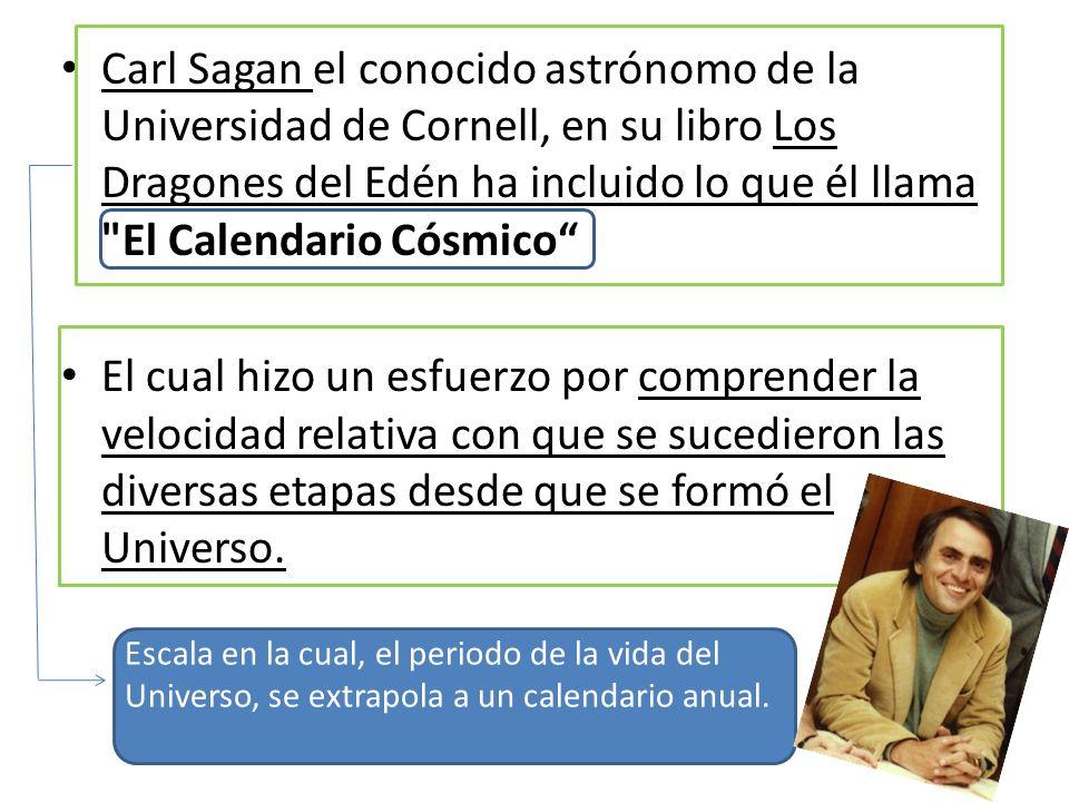Carl Sagan el conocido astrónomo de la Universidad de Cornell, en su libro Los Dragones del Edén ha incluido lo que él llama El Calendario Cósmico
