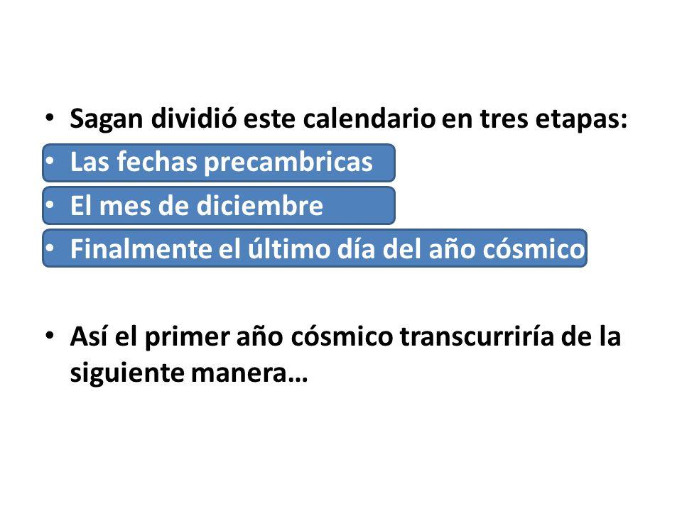 Sagan dividió este calendario en tres etapas: