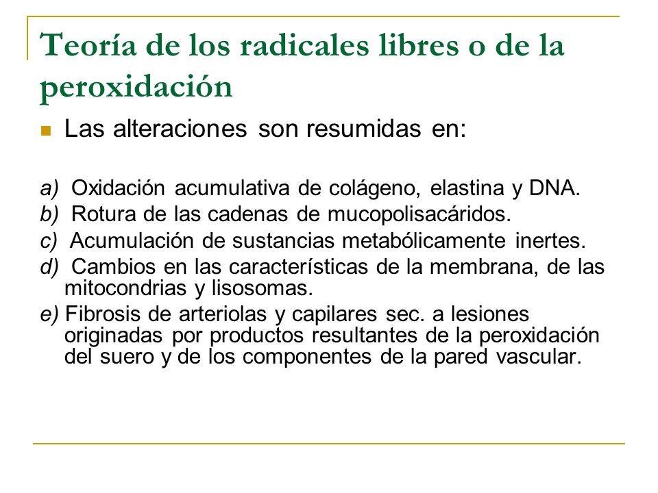 Teoría de los radicales libres o de la peroxidación