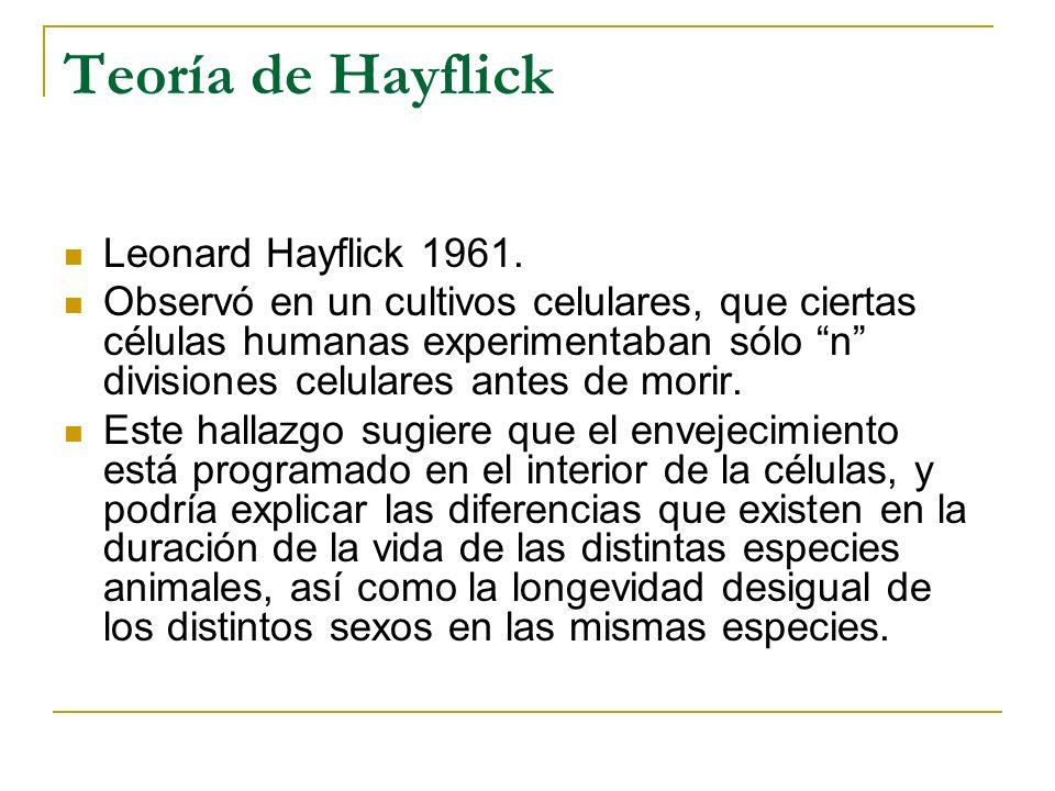 Teoría de Hayflick Leonard Hayflick 1961.
