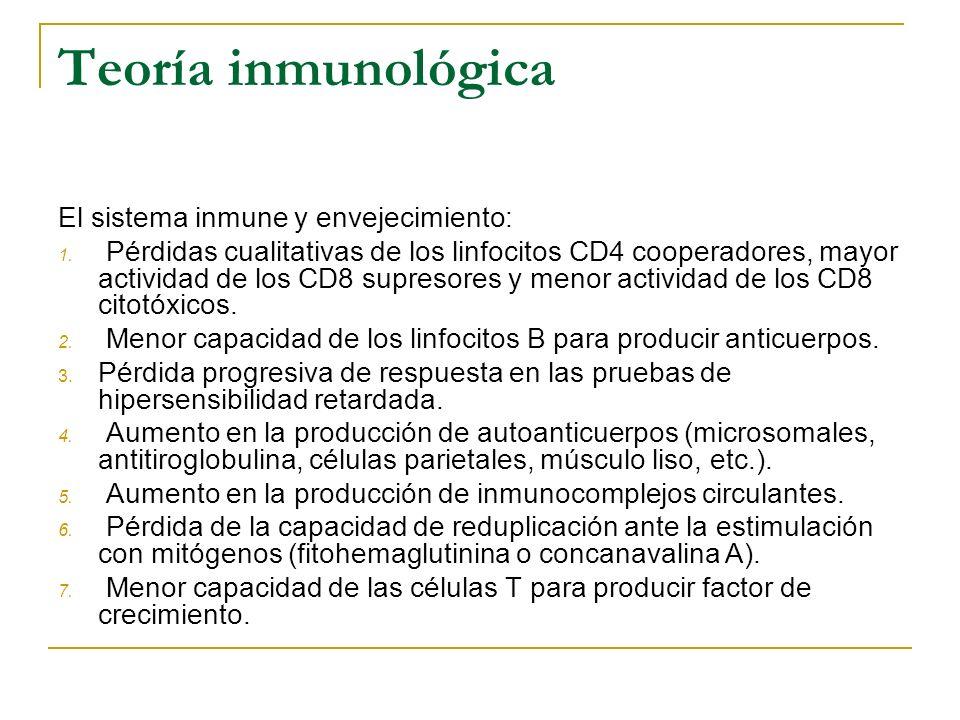 Teoría inmunológica El sistema inmune y envejecimiento: