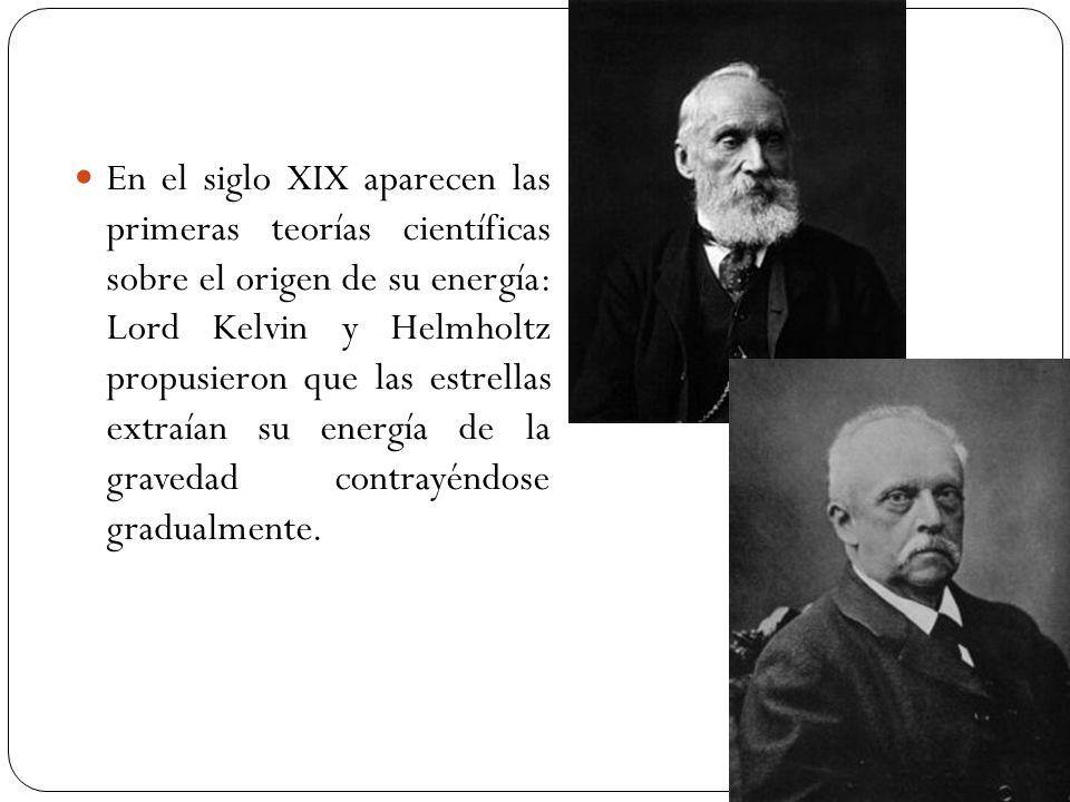 En el siglo XIX aparecen las primeras teorías científicas sobre el origen de su energía: Lord Kelvin y Helmholtz propusieron que las estrellas extraían su energía de la gravedad contrayéndose gradualmente.