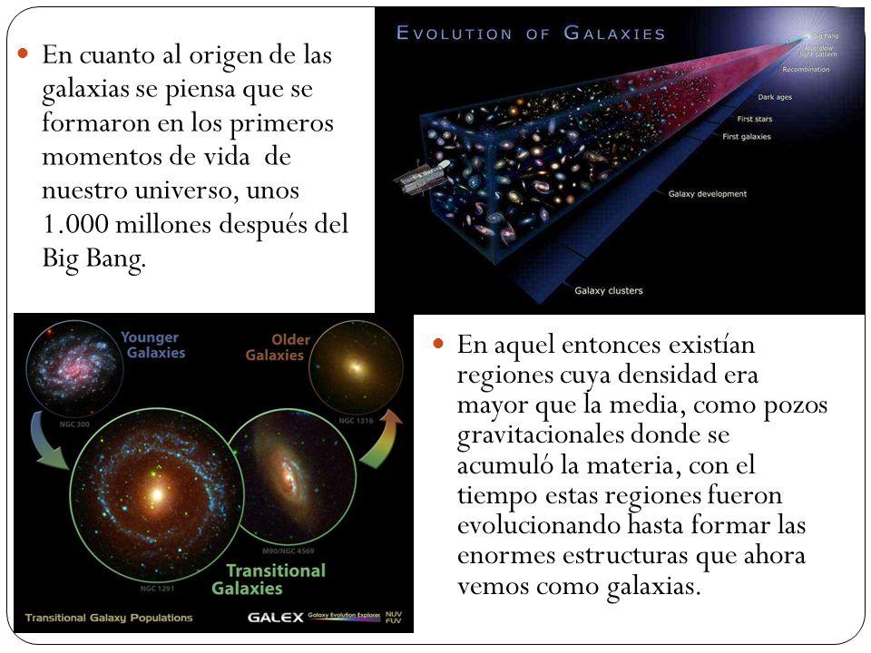 En cuanto al origen de las galaxias se piensa que se formaron en los primeros momentos de vida de nuestro universo, unos 1.000 millones después del Big Bang.