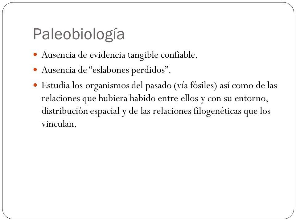 Paleobiología Ausencia de evidencia tangible confiable.