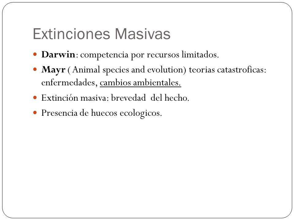 Extinciones Masivas Darwin: competencia por recursos limitados.