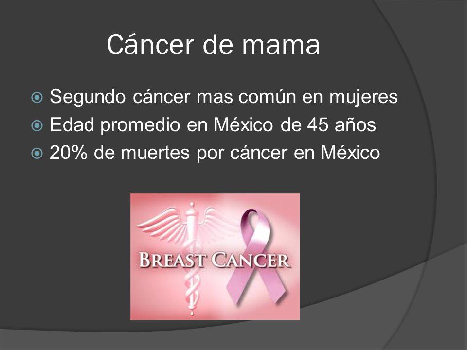 Cáncer de mama Segundo cáncer mas común en mujeres