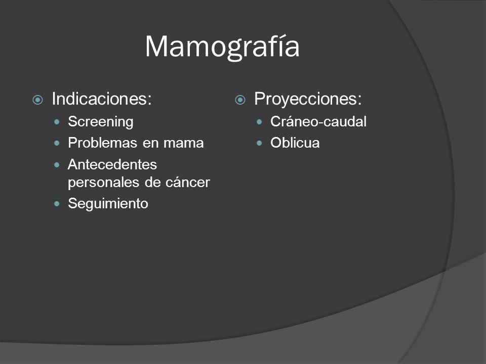 Mamografía Indicaciones: Proyecciones: Screening Problemas en mama