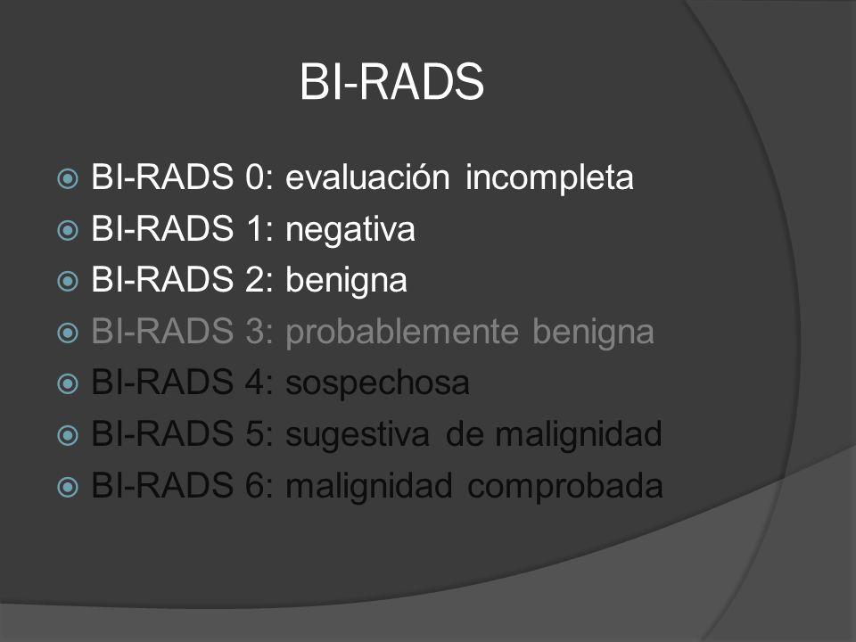 BI-RADS BI-RADS 0: evaluación incompleta BI-RADS 1: negativa