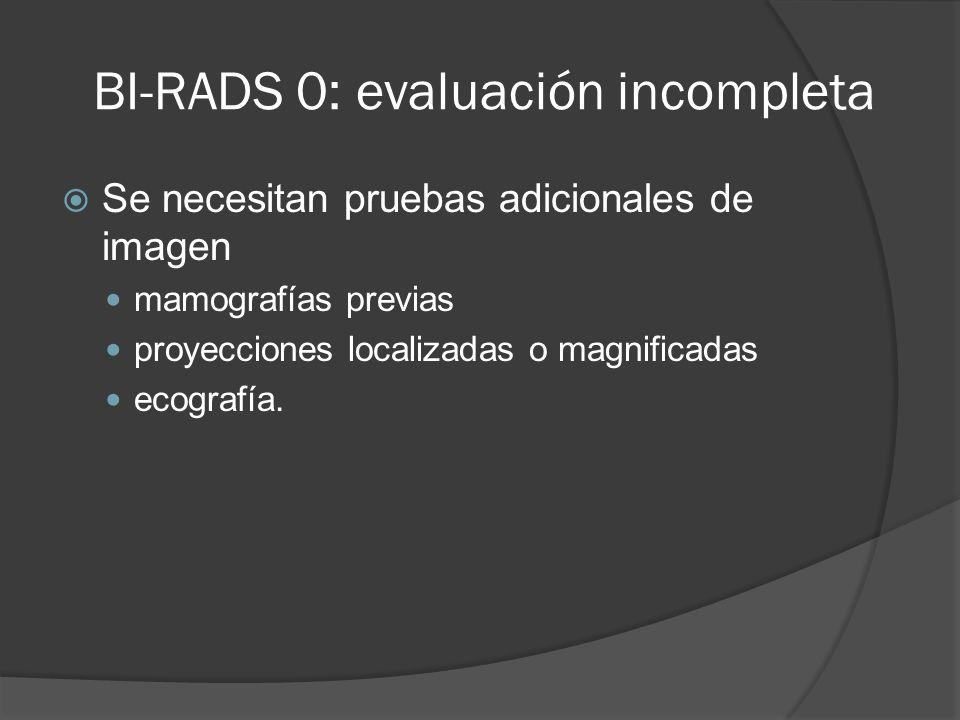 BI-RADS 0: evaluación incompleta