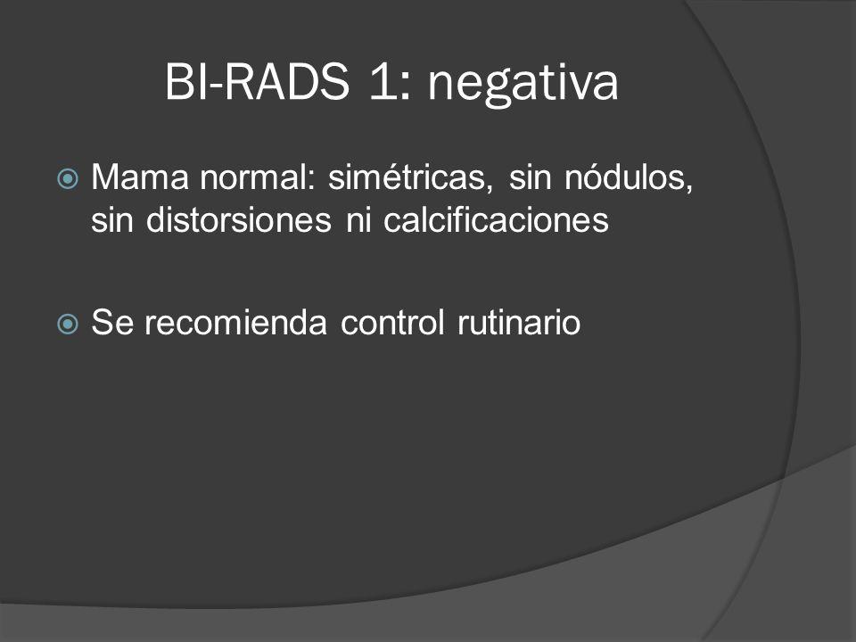 BI-RADS 1: negativaMama normal: simétricas, sin nódulos, sin distorsiones ni calcificaciones.
