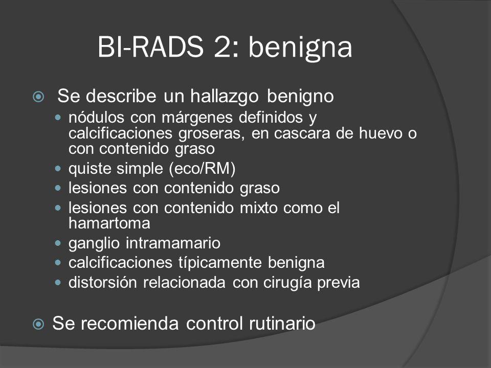 BI-RADS 2: benigna Se describe un hallazgo benigno