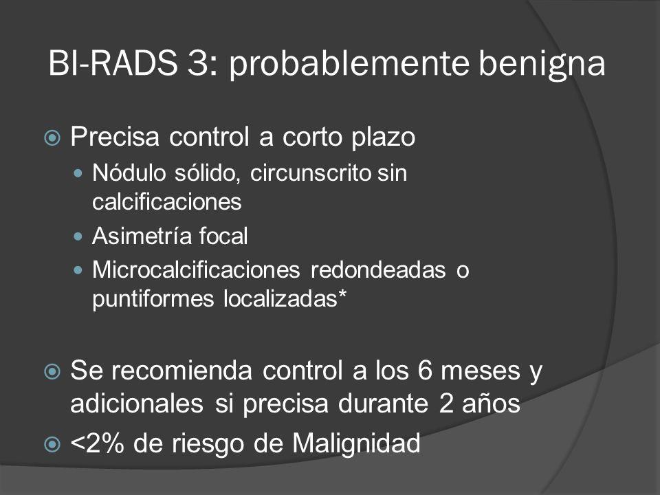 BI-RADS 3: probablemente benigna