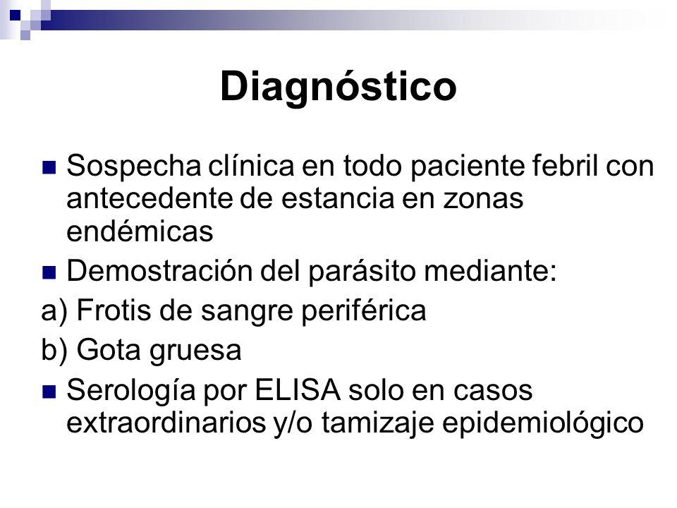 DiagnósticoSospecha clínica en todo paciente febril con antecedente de estancia en zonas endémicas.