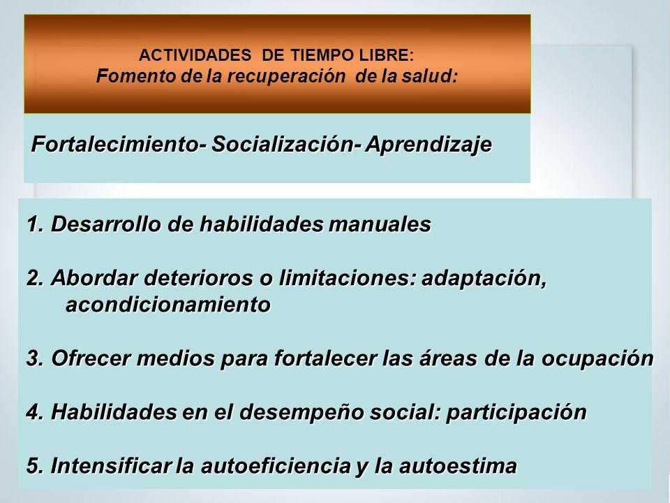 ACTIVIDADES DE TIEMPO LIBRE: Fomento de la recuperación de la salud: