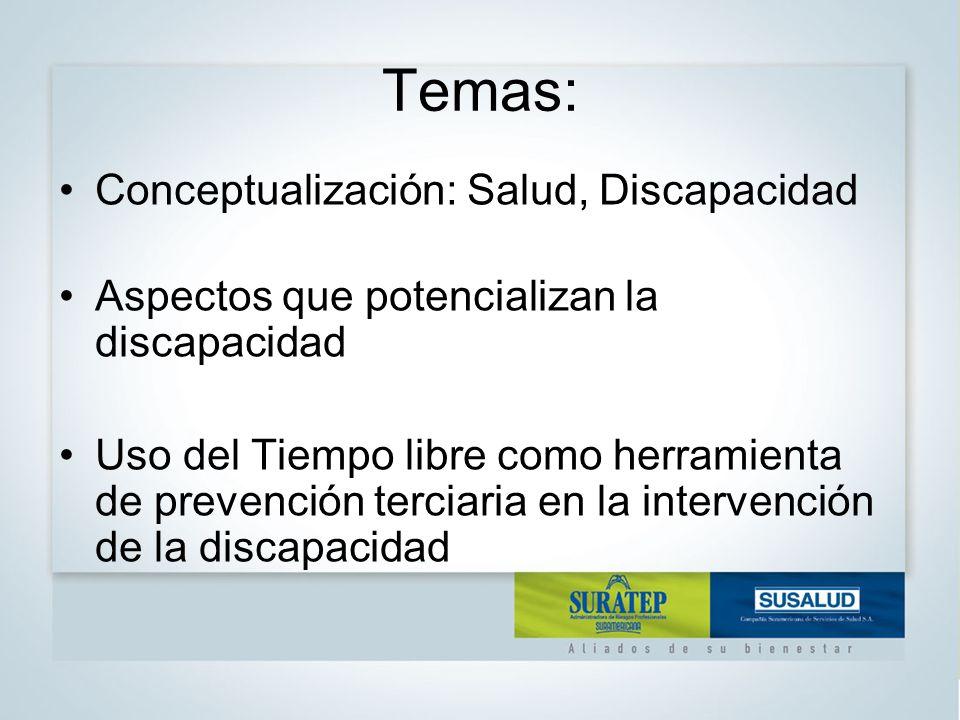 Temas: Conceptualización: Salud, Discapacidad