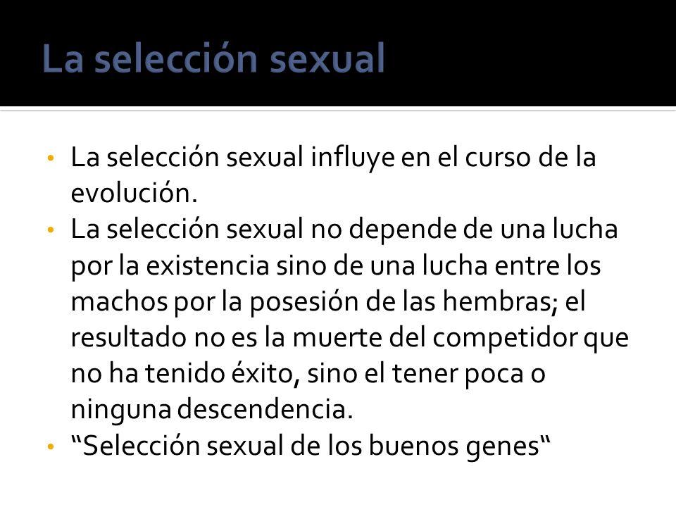 La selección sexualLa selección sexual influye en el curso de la evolución.