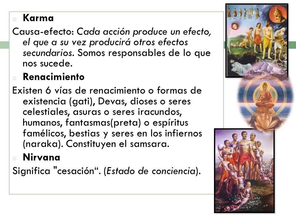 KarmaCausa-efecto: Cada acción produce un efecto, el que a su vez producirá otros efectos secundarios. Somos responsables de lo que nos sucede.