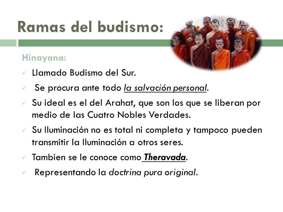 Ramas del budismo: Hinayana: Llamado Budismo del Sur.