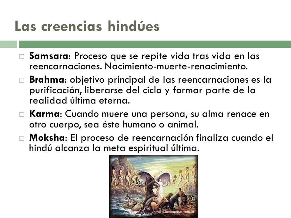 Las creencias hindúes Samsara: Proceso que se repite vida tras vida en las reencarnaciones. Nacimiento-muerte-renacimiento.