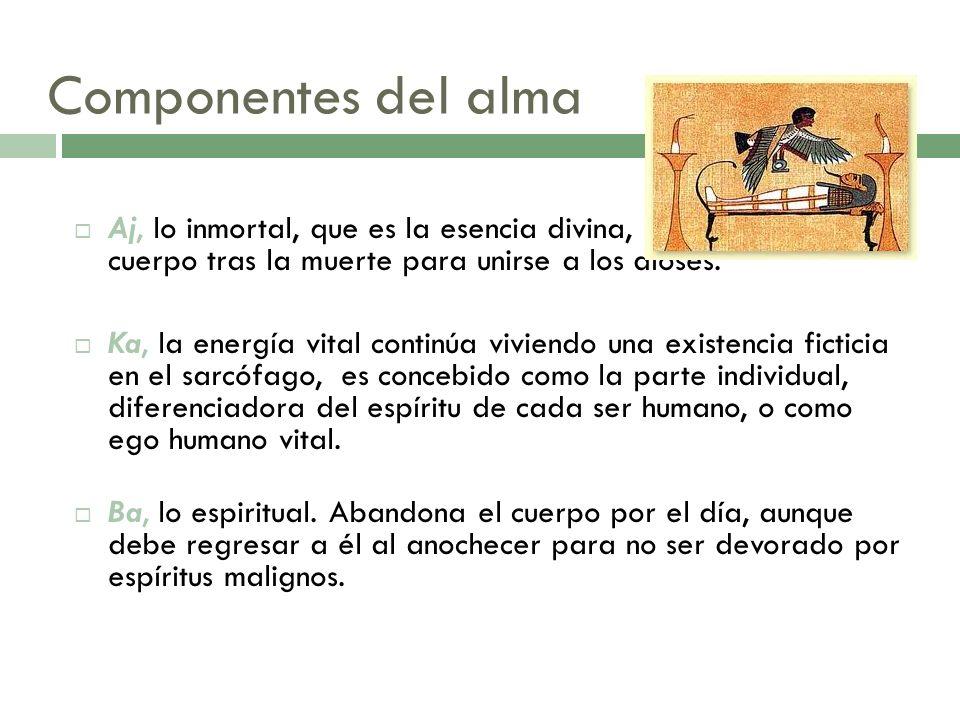 Componentes del almaAj, lo inmortal, que es la esencia divina, que abandona el cuerpo tras la muerte para unirse a los dioses.