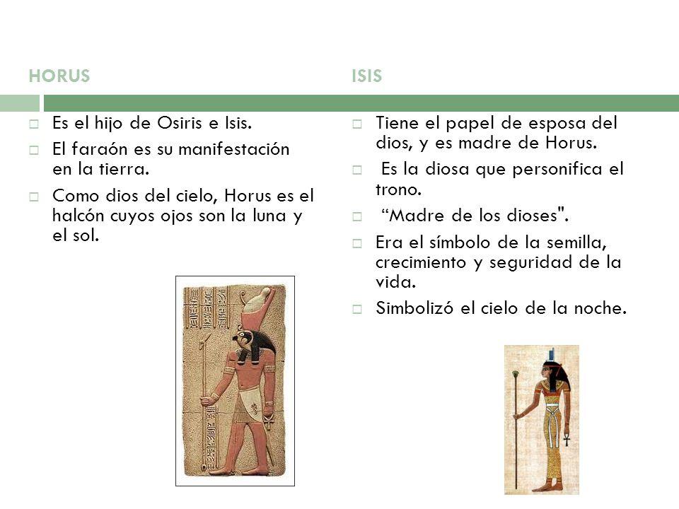 HORUS Es el hijo de Osiris e Isis. El faraón es su manifestación en la tierra.