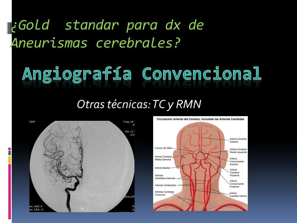 ¿Gold standar para dx de Aneurismas cerebrales