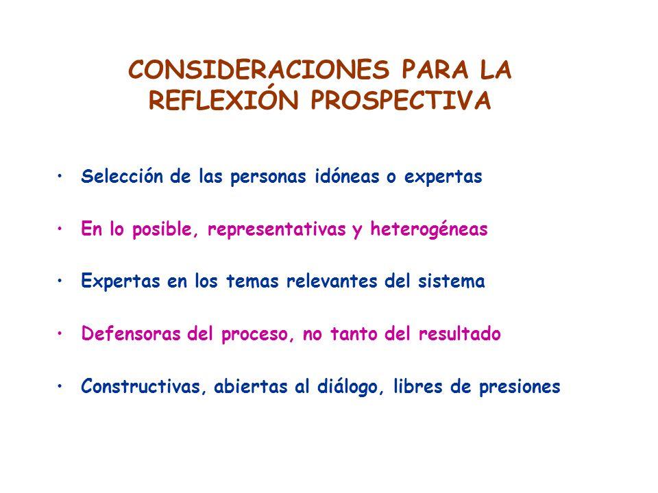 CONSIDERACIONES PARA LA REFLEXIÓN PROSPECTIVA