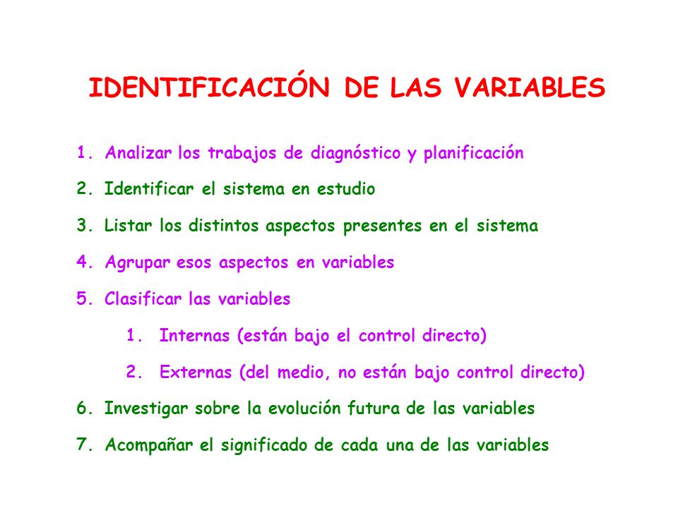 IDENTIFICACIÓN DE LAS VARIABLES