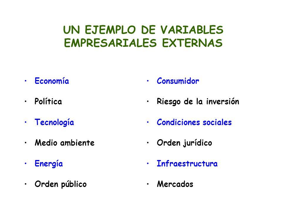 UN EJEMPLO DE VARIABLES EMPRESARIALES EXTERNAS