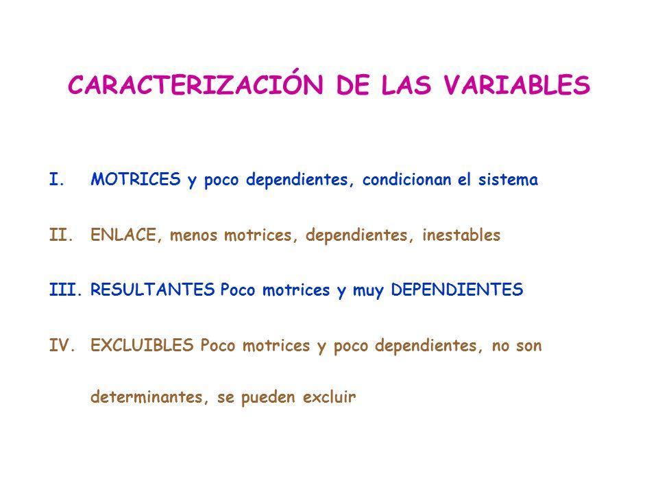 CARACTERIZACIÓN DE LAS VARIABLES