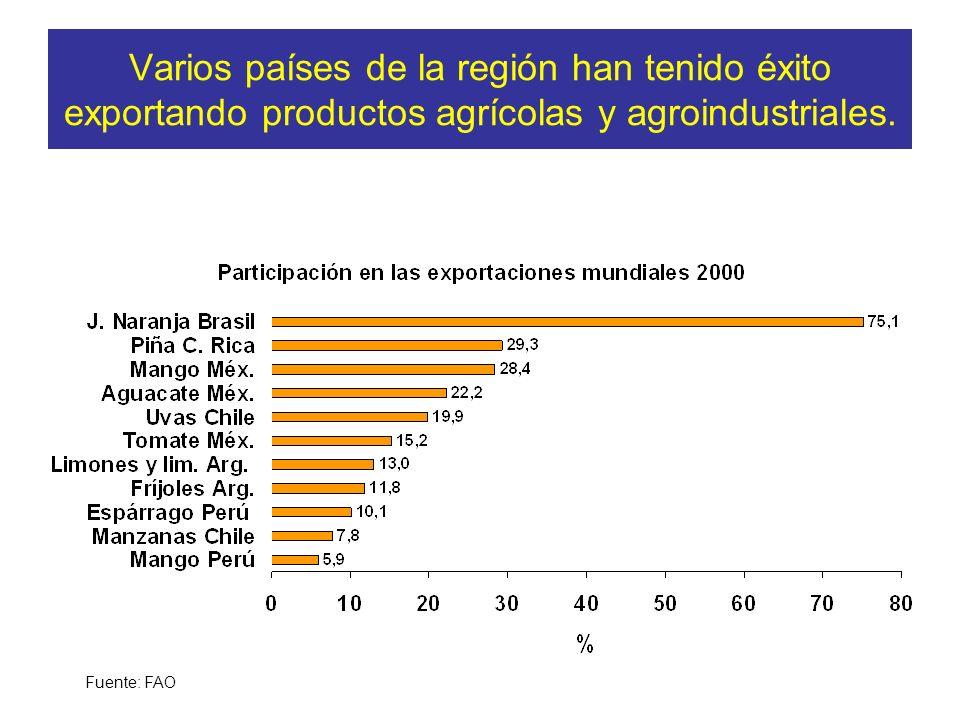 Varios países de la región han tenido éxito exportando productos agrícolas y agroindustriales.