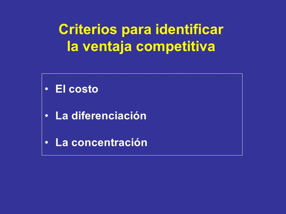 Criterios para identificar la ventaja competitiva