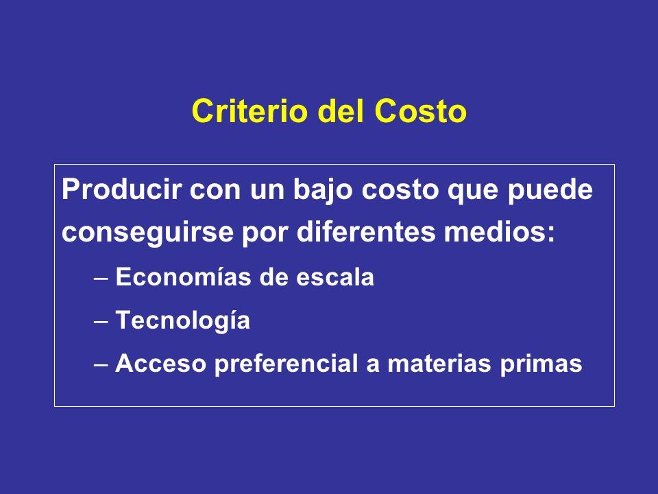 Criterio del Costo Producir con un bajo costo que puede conseguirse por diferentes medios: Economías de escala.
