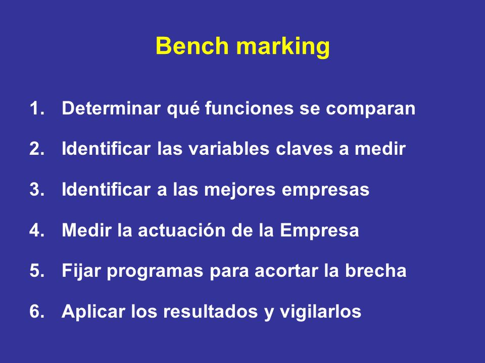 Bench marking Determinar qué funciones se comparan