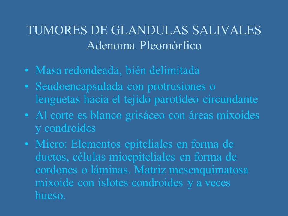 TUMORES DE GLANDULAS SALIVALES Adenoma Pleomórfico