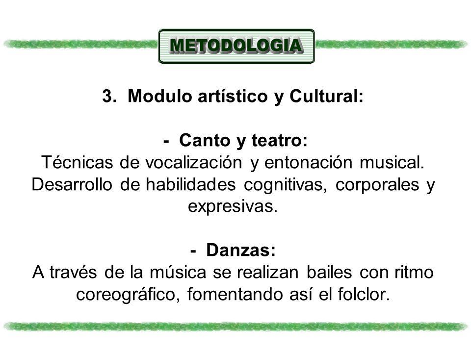 3. Modulo artístico y Cultural: