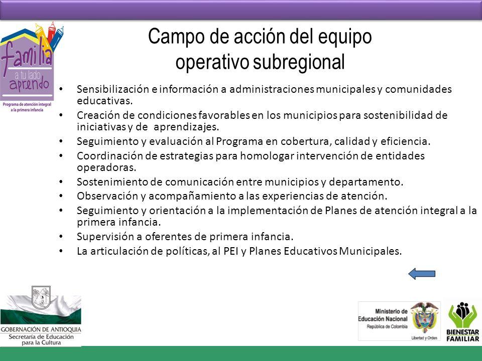 Campo de acción del equipo operativo subregional