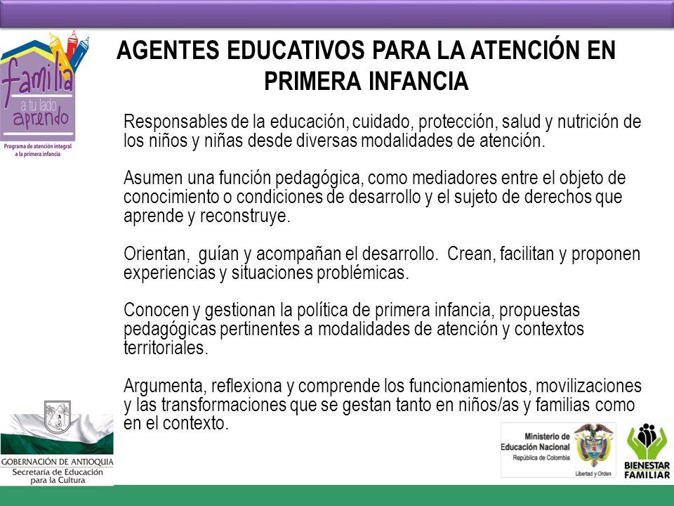 AGENTES EDUCATIVOS PARA LA ATENCIÓN EN PRIMERA INFANCIA