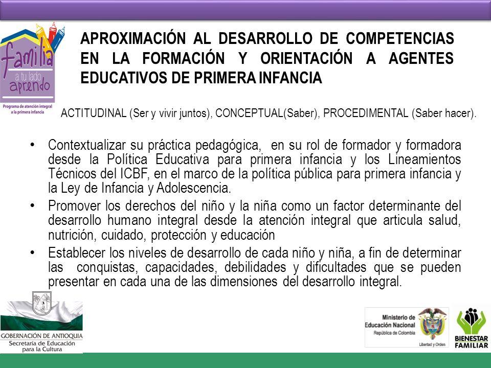 APROXIMACIÓN AL DESARROLLO DE COMPETENCIAS EN LA FORMACIÓN Y ORIENTACIÓN A AGENTES EDUCATIVOS DE PRIMERA INFANCIA